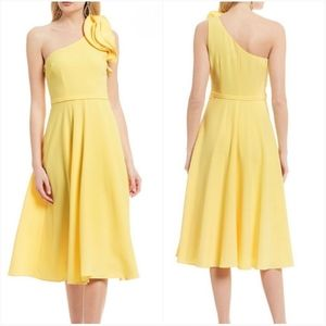 Eliza J One Shoulder Sleeveless Ruffle Flare Dress